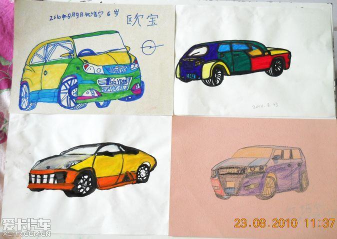 6岁小宁宁想找大师学画汽车和新画的汽车