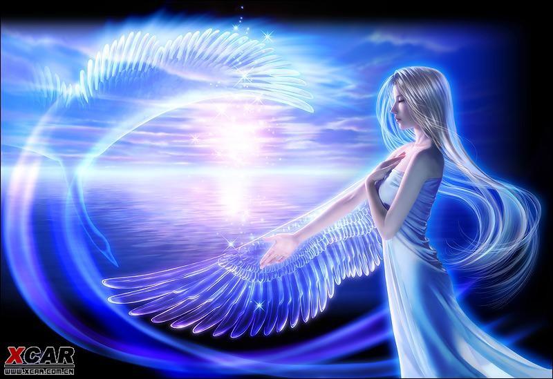 动漫蓝色天使翅膀可爱女生