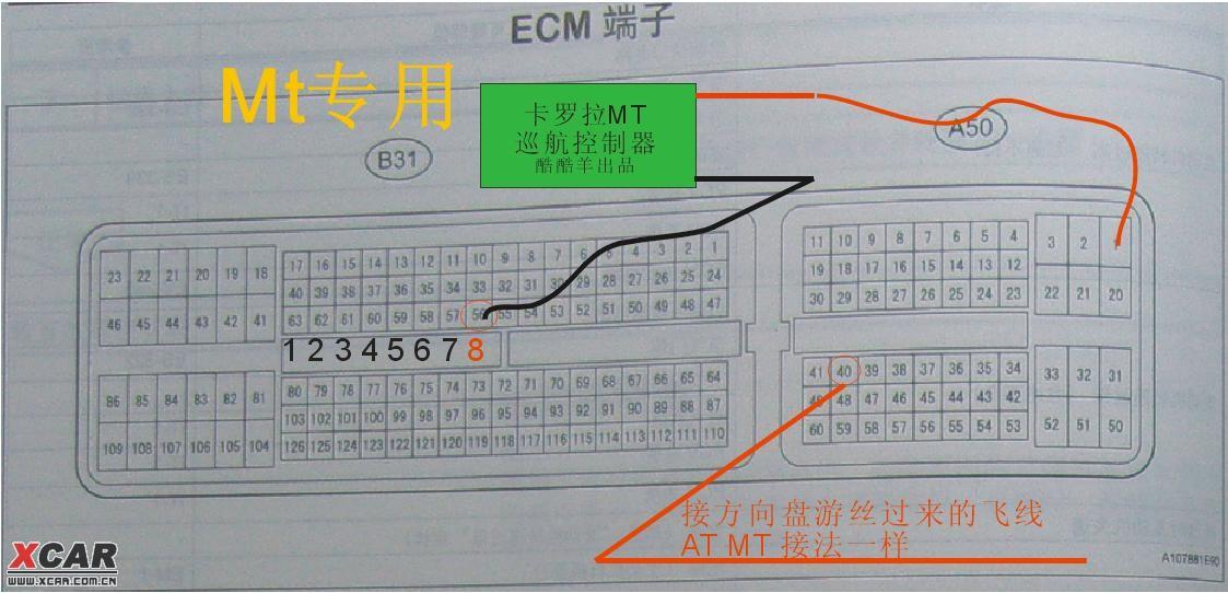 卡罗拉自动挡MT已成功突破加装定速巡航技术(上图)