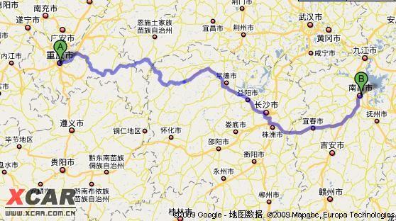 岳阳至重庆地图