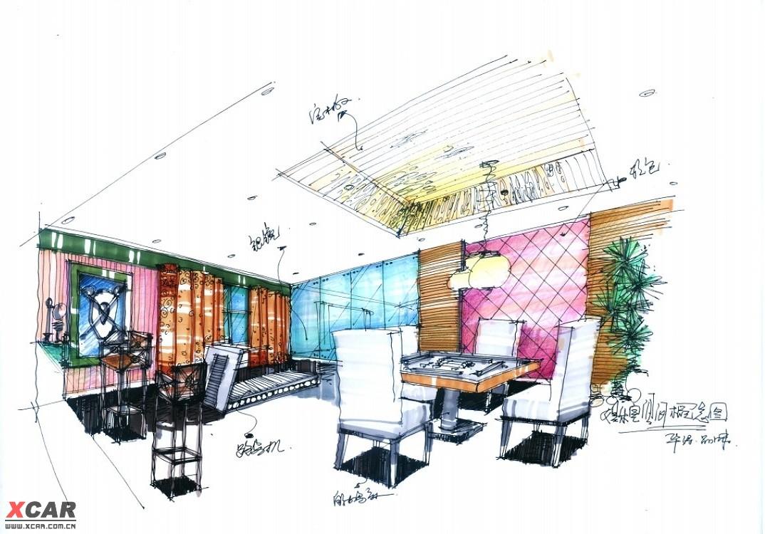 时尚阳光惬意浴室设计/钢笔手绘室内设计创意图图片
