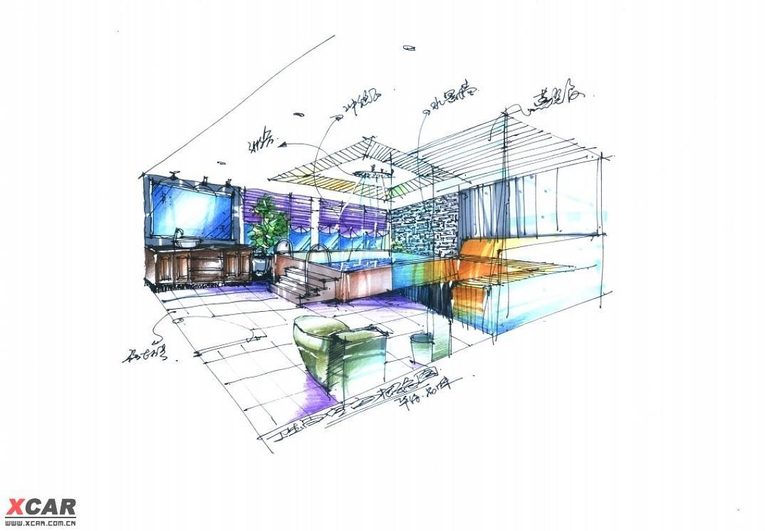時尚陽光愜意浴室設計/鋼筆手繪室內設計創意圖