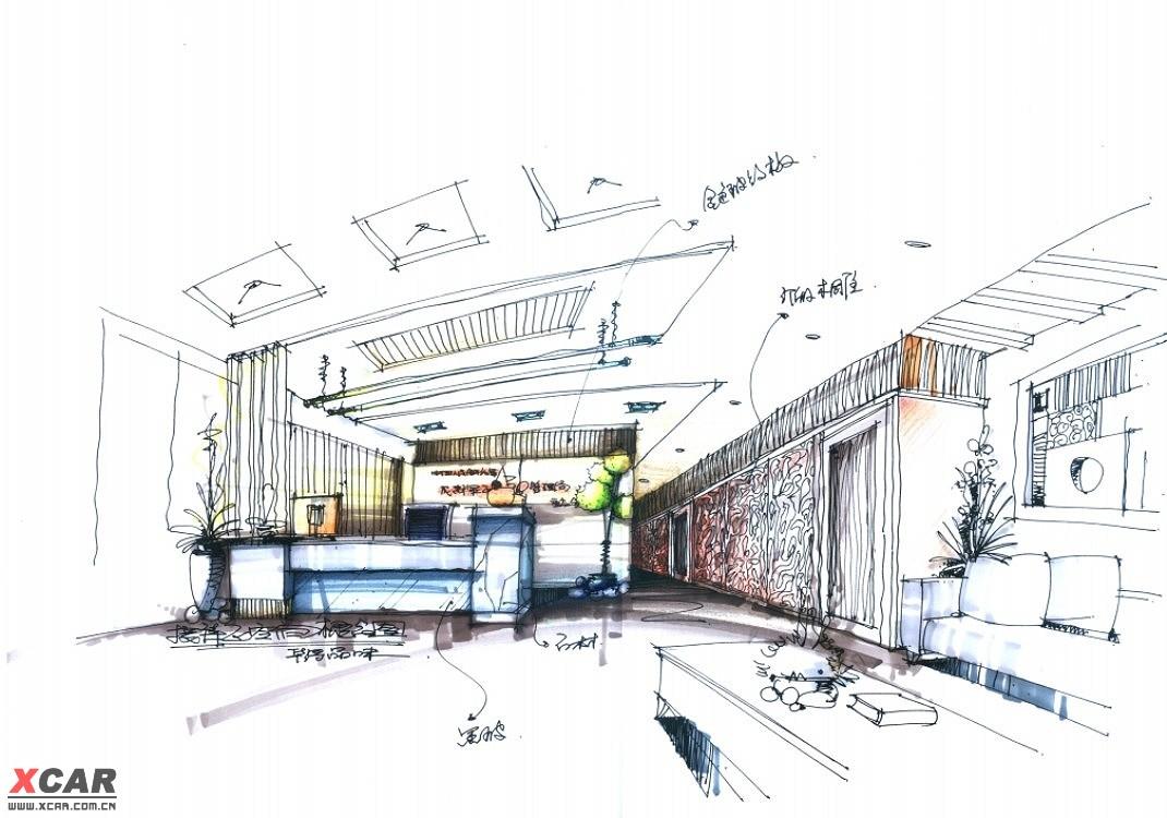 马克笔彩铅手绘室内设计图教程