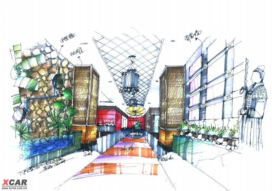 时尚阳光惬意浴室设计/钢笔手绘室内设计创意图