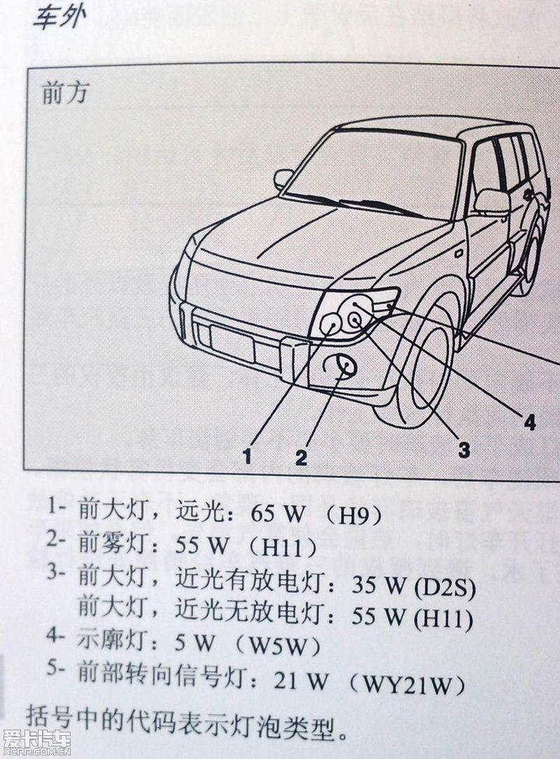 帕杰罗v93车灯型号,说明书实拍,希望有用,求精 高清图片