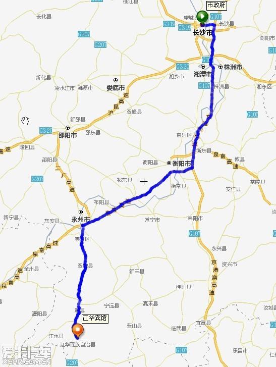 求万能的爱卡:长沙至永州江华县的最佳驾车线路及路况