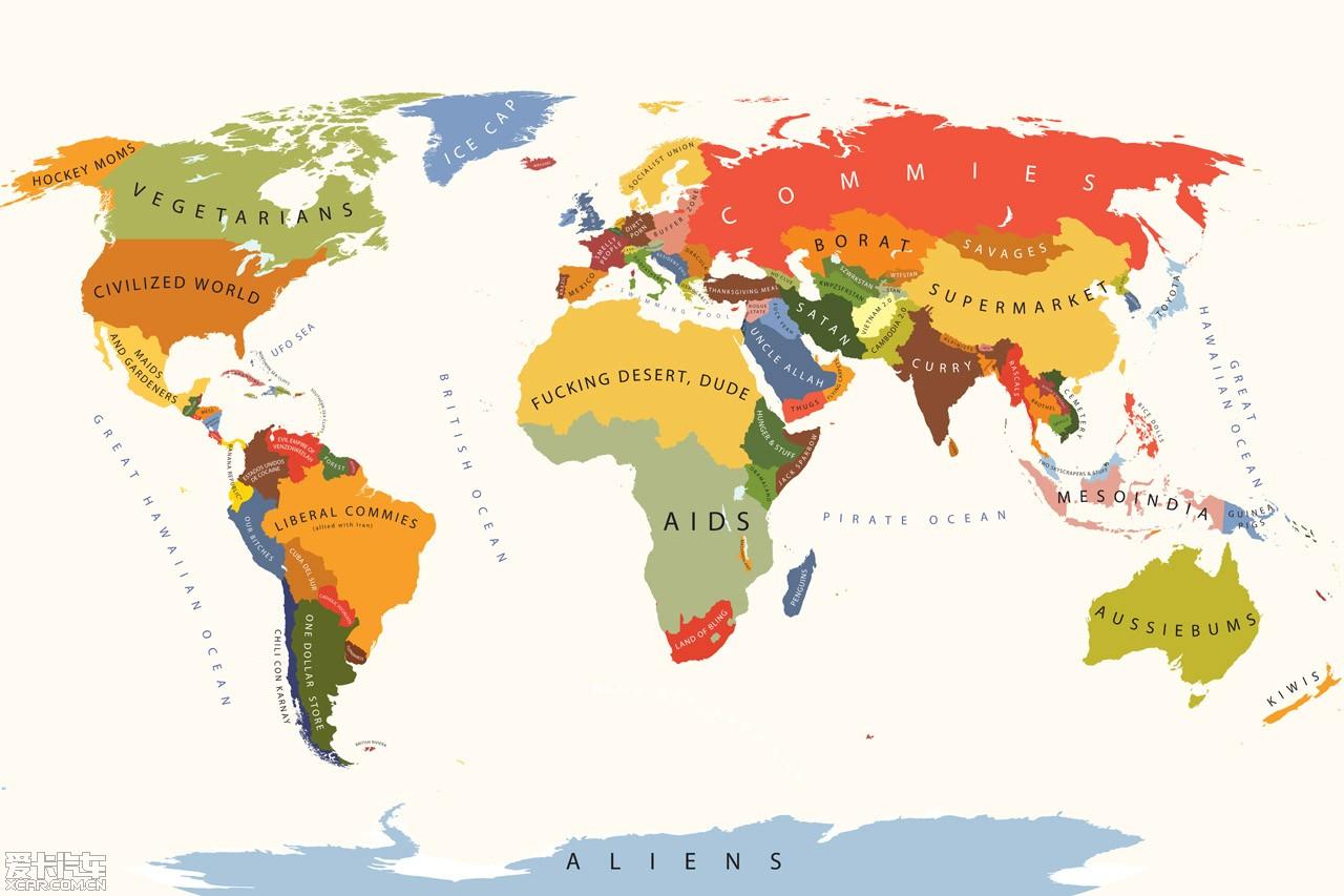美国人眼中的世界地图