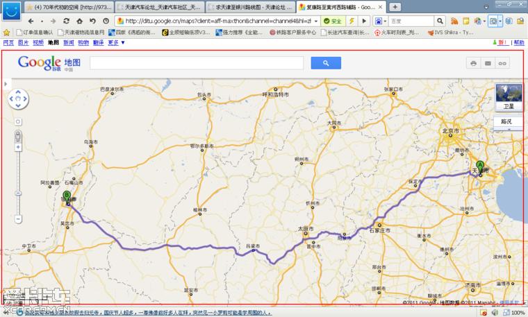 求天津至银川路线图