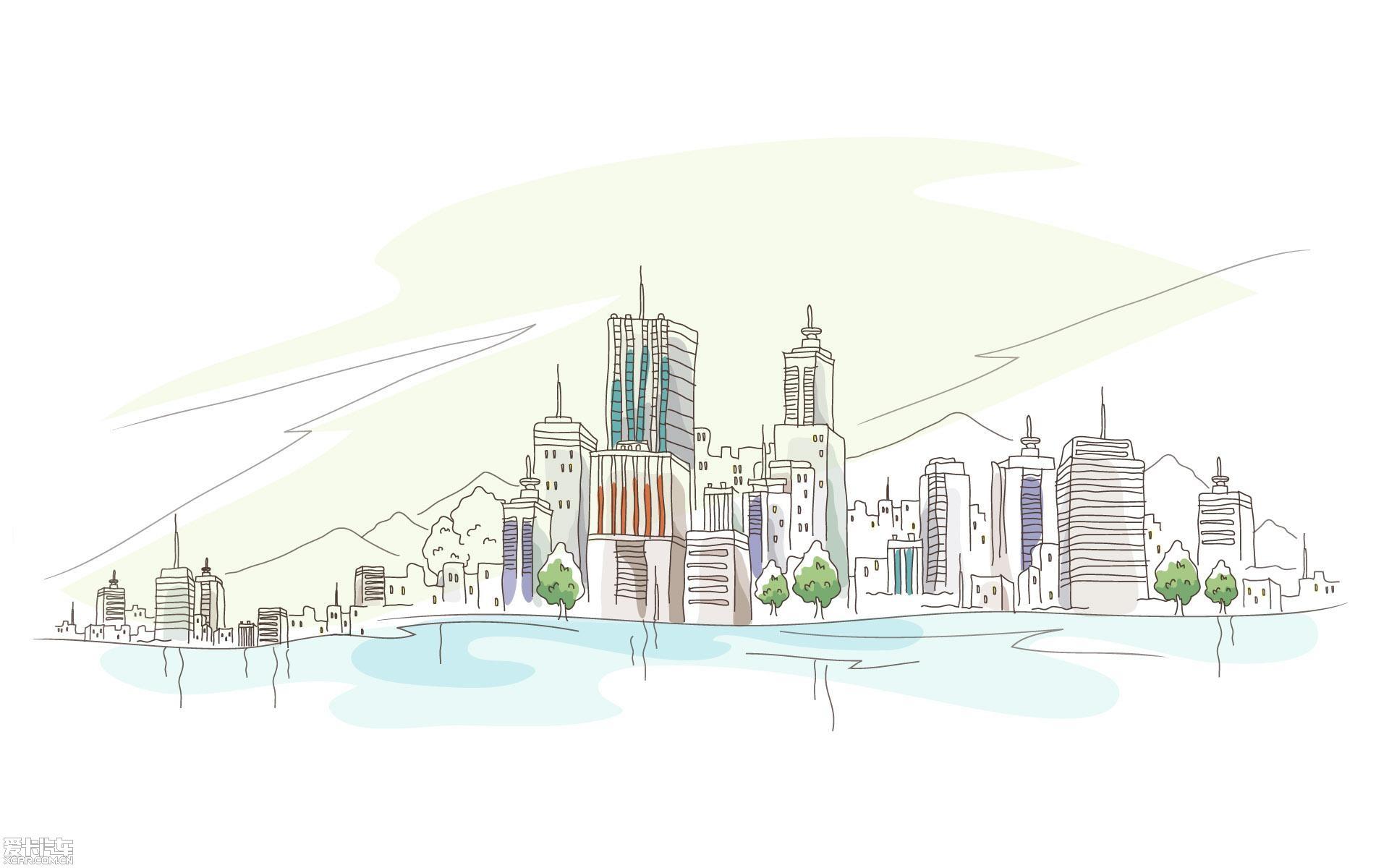 【图】线描简笔画-城市