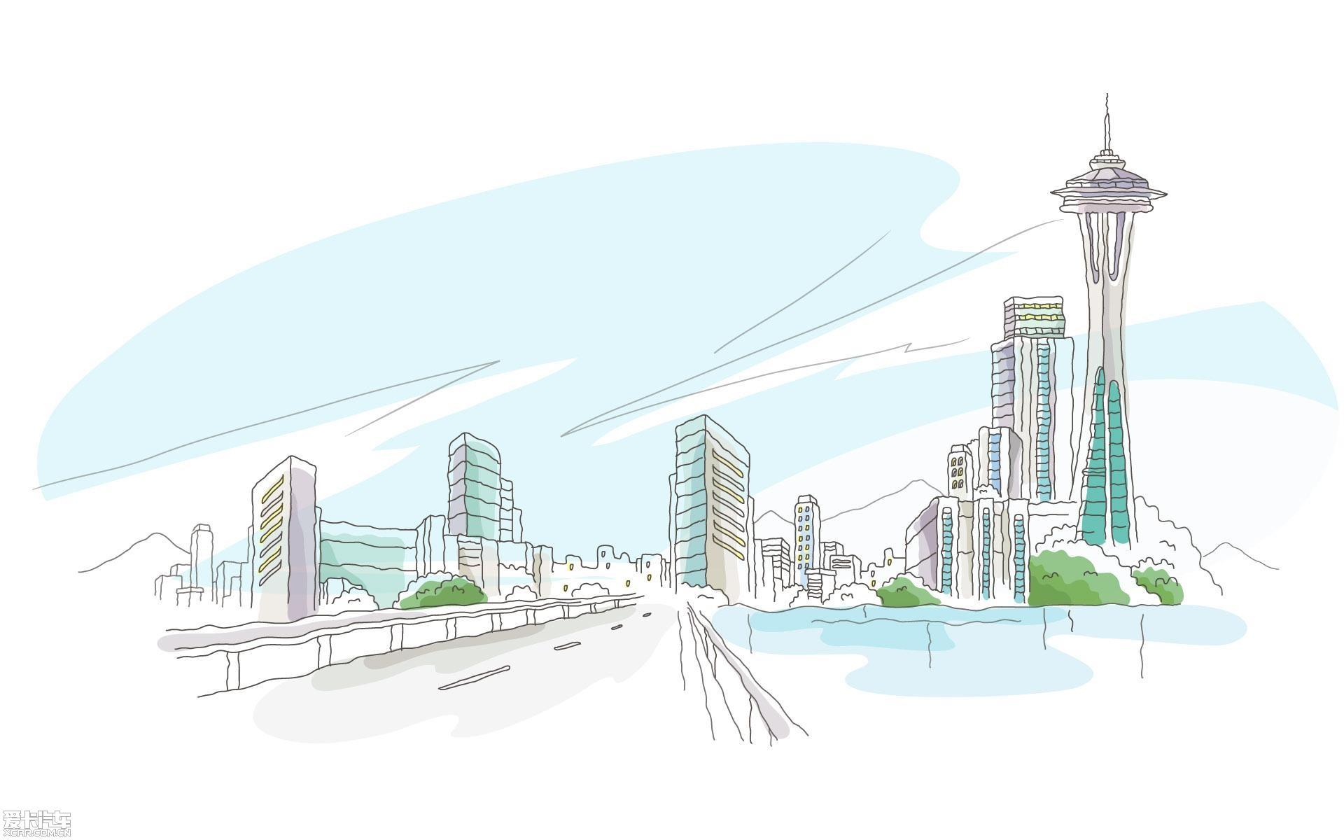 线描简笔画-城市