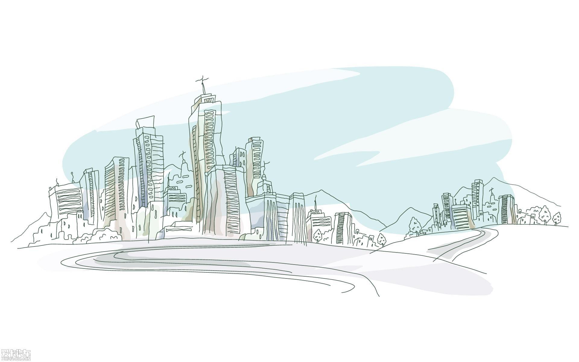 城市美景简笔画内容图片展示