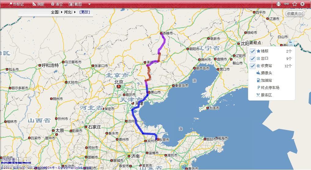 D2:2011年7月9日 东营-天津-唐山-承德-赤峰. 行程: 早上8:00出发, 晚上21:30到赤峰市. 东营到承德全高速,承德到赤峰的高速没修好,但承德到长春的G25已通, 到平泉下高速后, 走S252, 再走G306 到赤峰. 路况: 出东营后, 沿G25北上, 绕过天津, 路况还可以, 没堵. 但一过天津, 还没到河北就遭遇大货车车队, 两车道密密麻麻都是大货车, 开到60码已经很开心了.