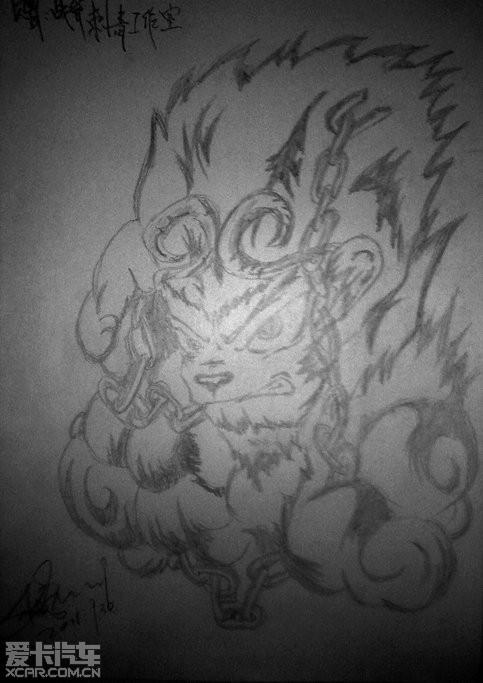 赠给朋友纹身店的纹身画稿(悟空)图片