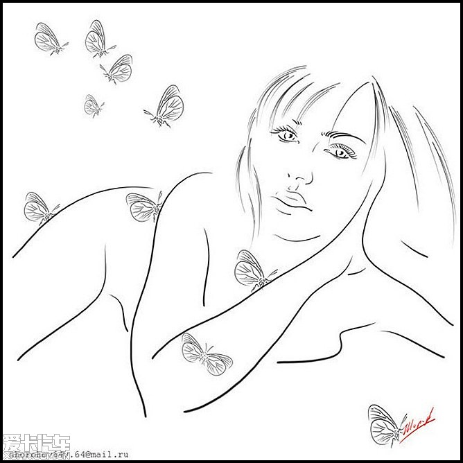 > 黑白线条的柔美女人