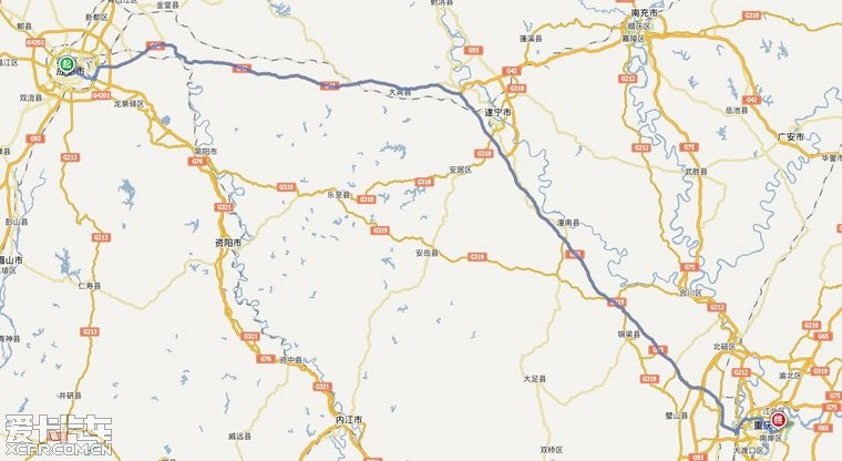 1720公里   万州-重庆-成都-广元-西安-太原-石家庄-北京 2370公里