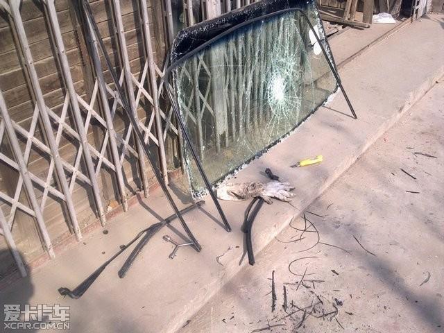 玻璃被砸,时超换前挡风玻璃 图文 桑塔纳论坛高清图片