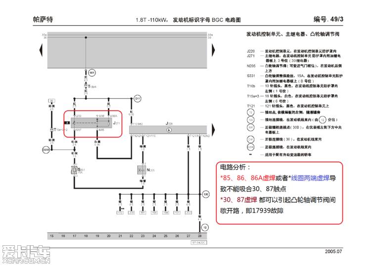 V6 没有完全相同的继电器, 但有一个J17燃油泵继电器(372号-外壳印刷), J17接通燃油泵的同时还负责点火线圈的供电, 安装位置也不在发动机控制单元保护盒内, 而是在中央电器板上. 2.0L有J271继电器, 叫 429继电器(外壳印刷), 和1.8T中的30号一样负责点火线圈的供电,同时还给曲轴箱通风加热电阻供电, 安装位置也一样.