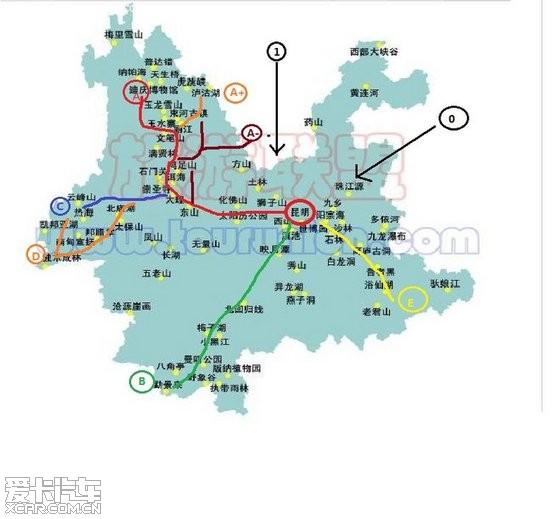 图示为云南各地旅游风景点分布,个人对照交通,行政图查看所属区域