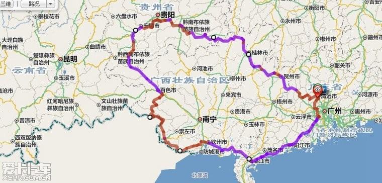 停留在贵州与广西这