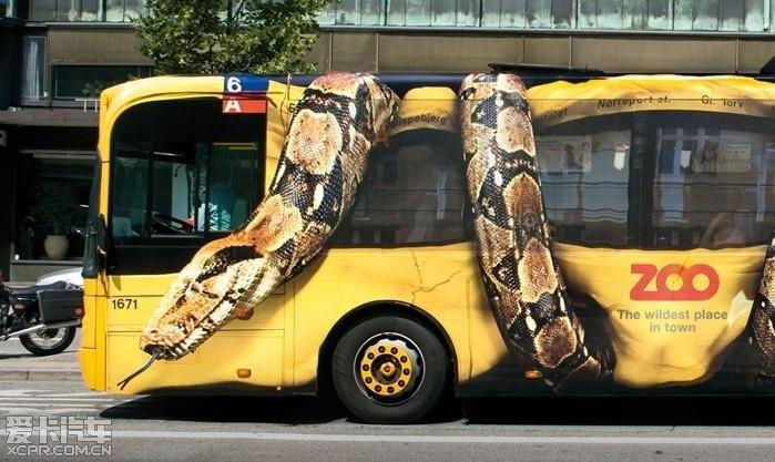 哥本哈根动物园的公交车车身
