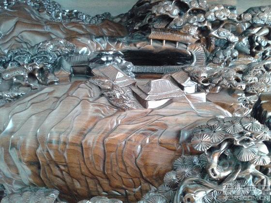 欣赏帖大型金丝楠木雕刻