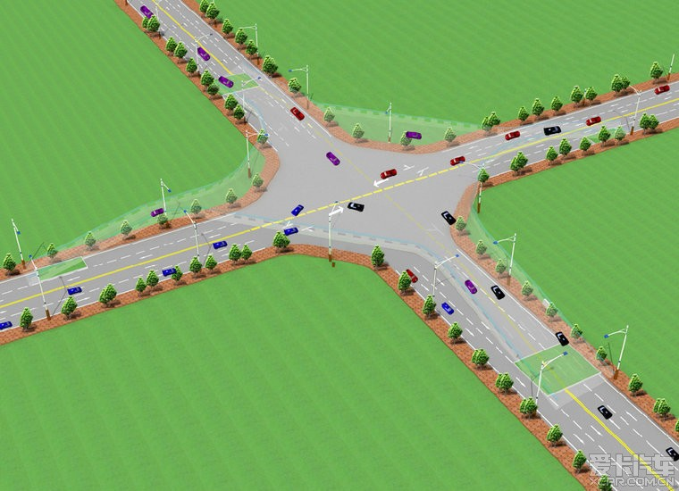 > 有才人设计的解决交通阻塞的十字路口!嗯!很是巧妙!图片