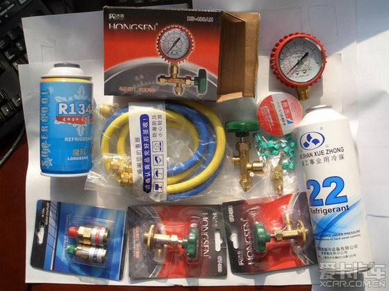 首先从x宝淘来加氟套装工具和雪种r134a(小客车空调多用此剂).