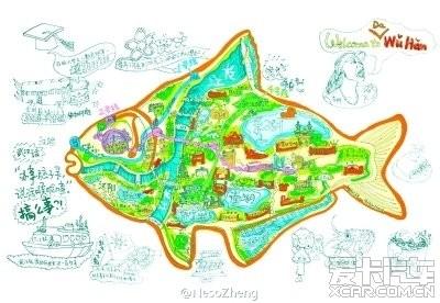 我是一只鱼:手绘鱼形大武汉地图走红_湖北汽车论坛
