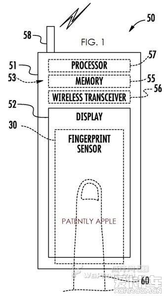 专利获指纹识别手机屏幕传感器在苹果下方_上连上为什么技术我的wifi掉一会就图片