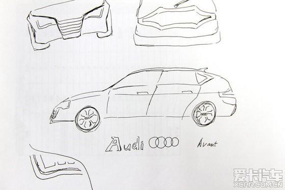 因为我自己的车是A6L,看最近同事们工作也不太忙,就提出搞个画画儿的小活动,画的主题就定为A6L设计比赛,我肯定要参加啊,反响还不错,大家都觉得还挺有意思的。下面就是我加上7个同事画的A6L概念车,还请大家看看哪个画的更好。 开始作品展示前,先给大家看看A6L的真实样子,好有个对比,别看着看着都被我们弄得不记得A6L长啥样子了。  1号车)第一个是我画的,还挺帅吧,四边形车灯非常简洁,腰线和A5的类似,想法是让A6L更动感。画得还挺传神吧!其实我是用A6L的图改的,比较偷懒,哈哈哈!  2号车)还有