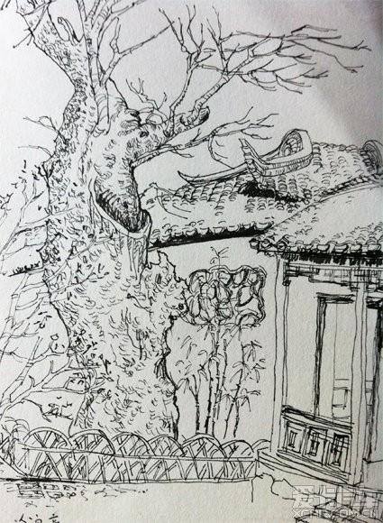 上有天堂,下有苏杭?钢笔速写绘制记录绍兴以及苏州园林