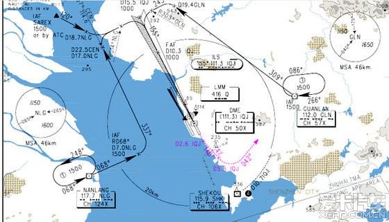 宝安机场飞机进场线路图