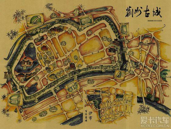 荆州古城手绘地图