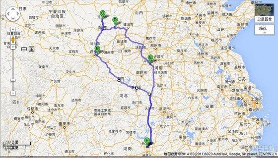 湖南离西安的地图