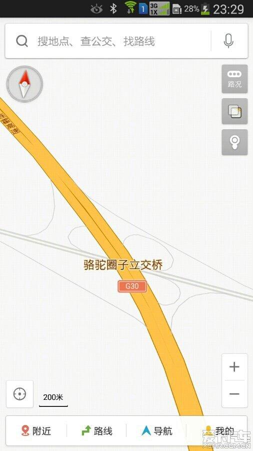 这是骆驼圈子立交桥的地图,图中右侧灰色线路为在建的g7高速