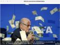 国际足联主席布拉特发布会现场被扔钱袭击