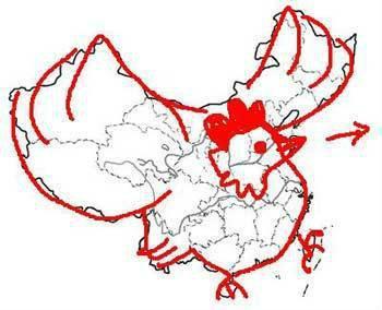 中国地图就像只大公鸡