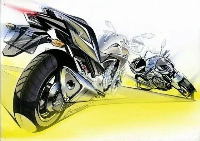> 最炫酷的摩托车设计手绘图