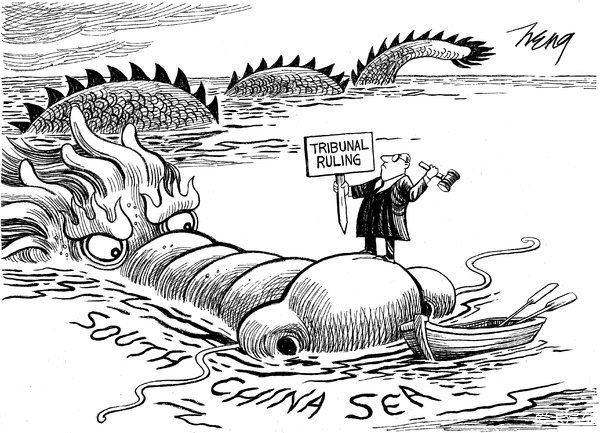> 纽约 时报:南海裁决:中国龙头上动土?(漫画)