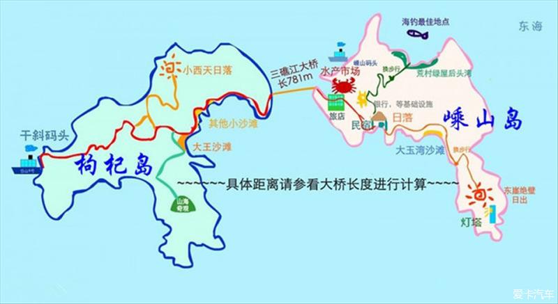 """说起枸杞岛,相信很多人都很熟悉,这是一个位于浙江省舟山群岛东北部的一个岛屿,在嵊泗县东部,南邻""""海天佛国""""普陀山。可说到嵊山岛,可能知道的人并不多。其实枸杞和嵊山就是连在一起的两个小岛,两岛之间有条小小的海峡,那片水域叫三礁江,它们中间有座三礁江大桥相连,全长781米。这个海岛离上海也是比较近的。 所以我在上海参加工作好几年了,一直没能如愿去享受一下小岛生活。有点小小的遗憾啊!在7月底时,和几位同事一起去过了两天一夜的小岛生活。嘿嘿,我也如愿了! 首先让大家看看枸杞岛与嵊山岛的具体位置"""