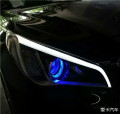【邢台永诚专业改灯】索纳塔九升级海拉5透镜+蓝恶魔眼,氙气灯