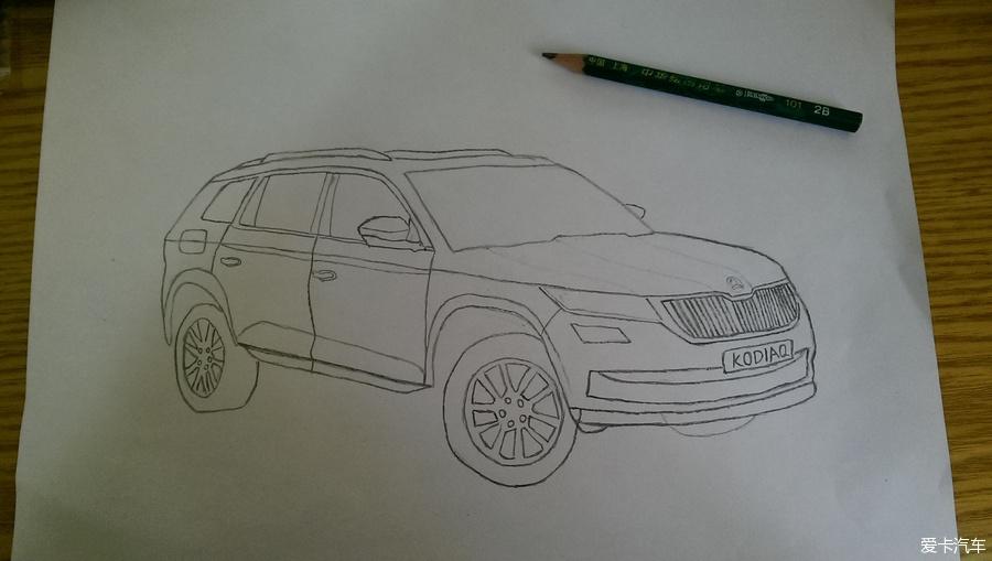 跑车侧面铅笔画