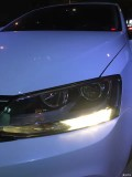 新速腾原车蜡烛灯升级GTR海拉五透镜飞利浦安定器欧司朗氙气灯