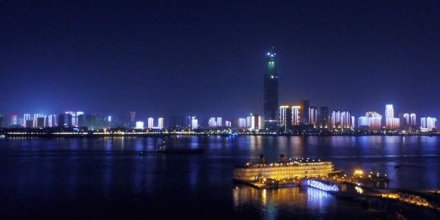 航拍,江滩夜景