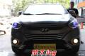 福州猫头鹰改灯现代ix35车灯升级氙气灯双光透镜案例