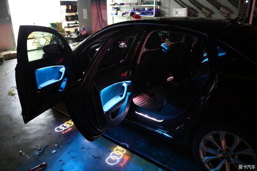 龙岗奥迪a6l改装八色氛围灯,完美效果上车