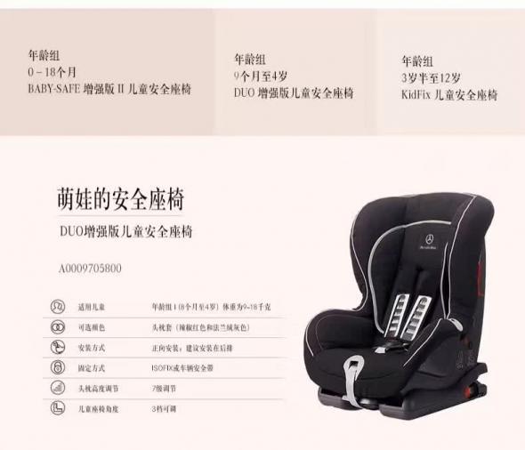 梅赛德斯-奔驰官方 增强版儿童安全座椅