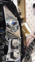 奥迪赛大灯远光位改装透镜氙气大灯