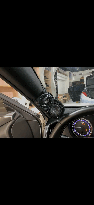 重庆英菲尼迪Q50L汽车音响改装升级 三分频A柱倒模