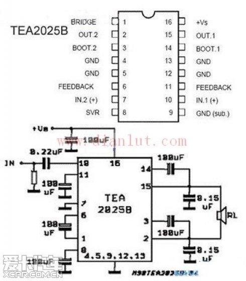tea2025b功放电路图]的电路图